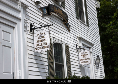 Town hall signs showing local government services and departments. - Stock Photo