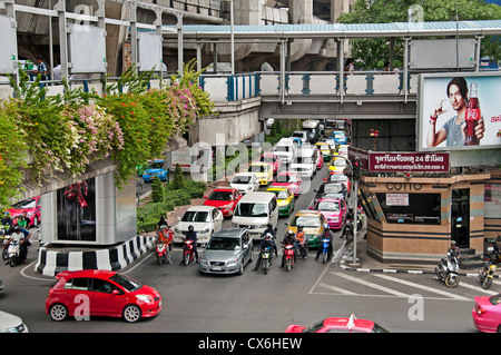 Pathumwan disrict Siam Square Center Bangkok car Thailand cars traffic - Stock Photo