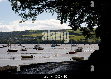 view of Dittisham,river Dart from Stoke Gabriel,South Hams,Devon,River Dart estuary and the tranquil mill pond of - Stock Photo