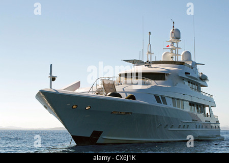 luxury white boat on a clear day. - Stock Photo