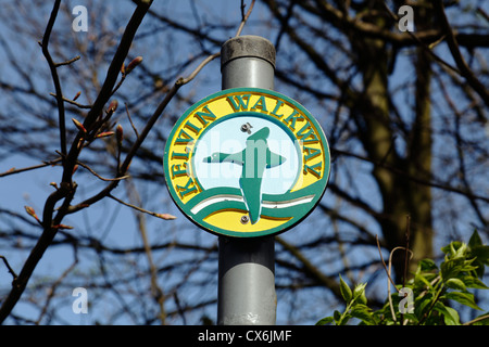A Kelvin Walkway sign in Kelvingrove Park in the West End of Glasgow, Scotland, UK - Stock Photo