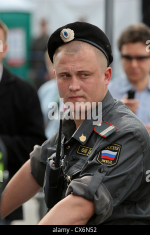 Young police sergeant in Moscow, Russia - Stock Photo