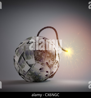 Ball of Euro bills shaped like an old bomb - government debt and financial crisis concept - Stock Photo