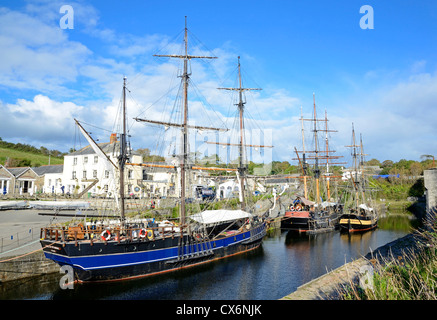 Tall ships in the historic harbour at Charlestown, Cornwall, UK - Stock Photo