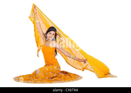 young indian woman wearing saree isolated on white - Stock Photo