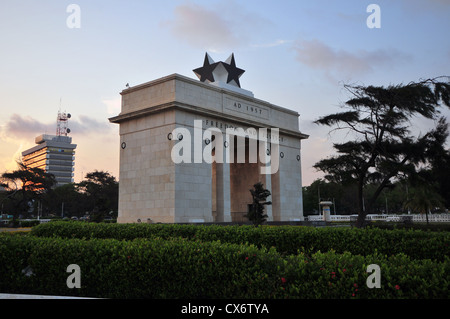 Independence Arch commemorating Ghanian independence from England in 1957. Located in the capital of Accra. - Stock Photo