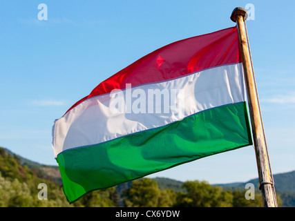 Flag of Hungary is waving in the wind. - Stock Photo
