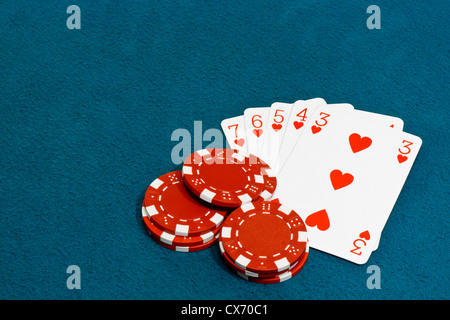 A straight flush a Winning hand in the card game of Poker - Stock Photo