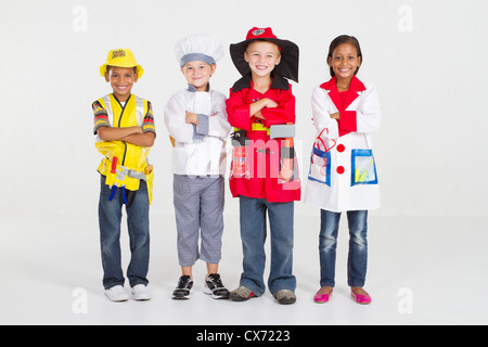 group of little workers in uniform - Stock Photo
