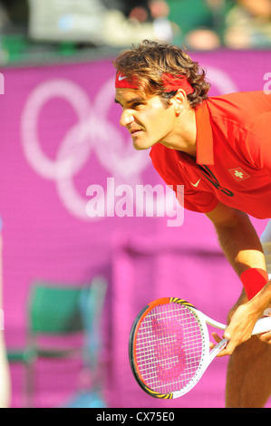 Switzerland's Roger Federer in action during the Olympics at the All England Club, Wimbledon, UK, on August 2nd, - Stock Photo