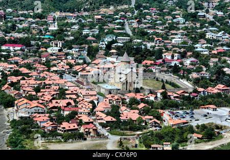 Confluence of the Mtkvari and Aragvi rivers, Mtskheta, Mtskheta-Mtianeti, Georgia - Stock Photo