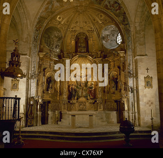 Spain. Cantabria. Limpias. Church of St. Peter. Altar. Image of The Christ of Limpias. - Stock Photo