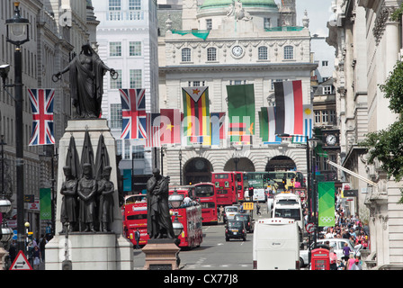 International flags on display in Regent Street, London during the 2012 Olympics - Stock Photo