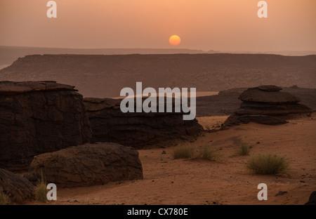 sunset ennedi mountains chad - Stock Photo