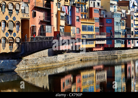 Bridge over the river Onyar in the centre of Girona, Catalonia, Spain - Stock Photo