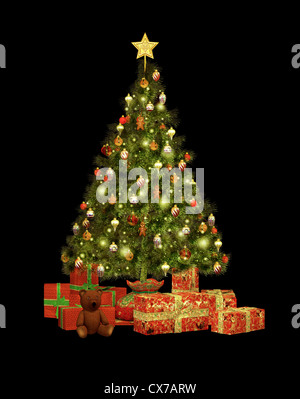 a decorated Christmas tree and Christmas gifts - Stock Photo