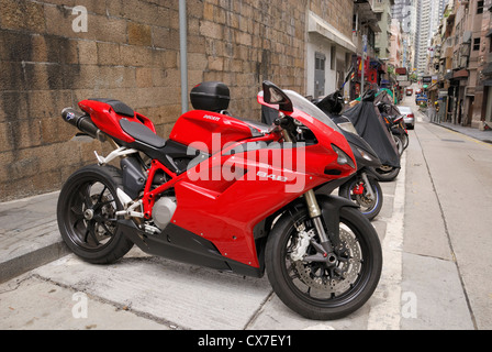 Ducati 848 motorcycle parked on the streets of Hong Kong,China - Stock Photo
