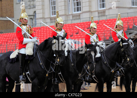 Household Cavalry, changing the guard at Horse guards parade, London, UK - Stock Photo