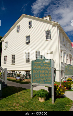 Michigan, Mackinac Island. Market Street, Registered Historic Site. - Stock Photo