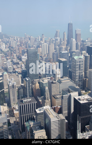 Looking down at downtown chicago from the 94th floor of for 103 floor skyscraper the sears tower in chicago