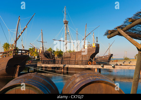 Replicas Of Ships Columbus Sailed To America, The Wharf Of The Caravels; Palos De La Frontera, Huelva Province, - Stock Photo