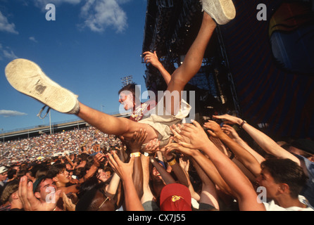 Randall's Island, New York - Crowd Surfing at Lollapalooza - Stock Photo
