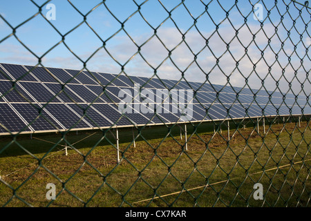 Solar panels behind chain link fence
