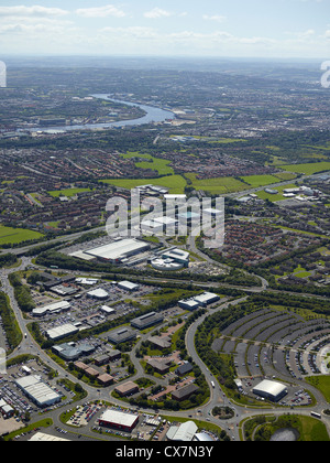Silverlink business area, Newcastle upon Tyne, North East England, UK, river Tyne visible in the background - Stock Photo