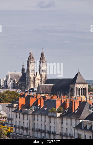 Looking across the rooftops of Tours in France. - Stock Photo