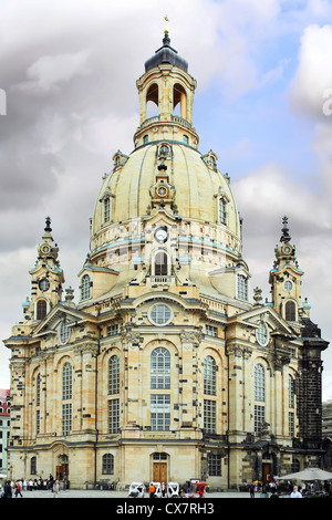 Dresden Frauenkirche (Church of Our Lady) is a Lutheran church in Dresden, Germany. - Stock Photo