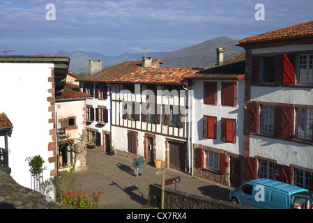 St.Jean Pied-de-Port in the French Pyrenees. - Stock Photo