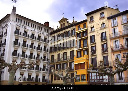 Hotel La Perla on Plaza del Castillo in Pamplona, Spain. - Stock Photo
