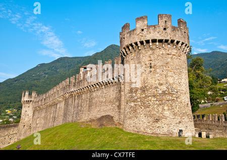 Bellinzona is the capital of the canton Ticino in Switzerland - Stock Photo