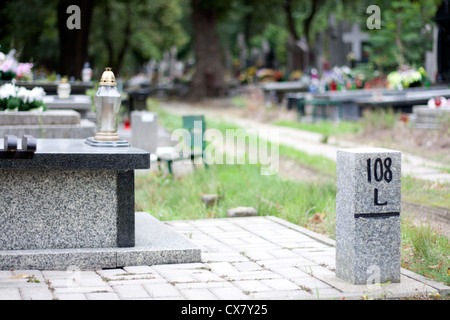Cemetery and finding right way concept - Stock Photo