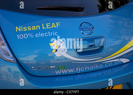 Nissan Leaf Electric Car Zero Emission Badging Stock Photo