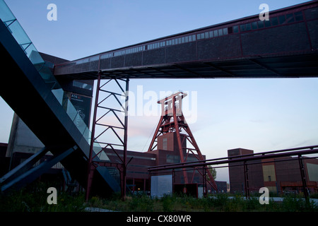 The winding tower of shaft 12 at Zollverein Coal Mine Industrial Complex in Essen, North Rhine-Westphalia, Germany, - Stock Photo