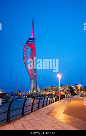 The Spinnaker Tower, a 170 metre tall tourist attraction overlooking historical Portsmouth harbour, opened in October - Stock Photo