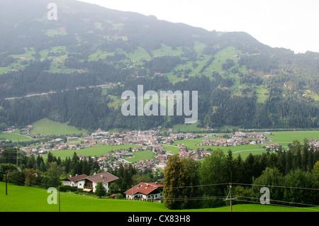 Austria, Tyrol, Zillertal, Mayrhofen elevated view - Stock Photo
