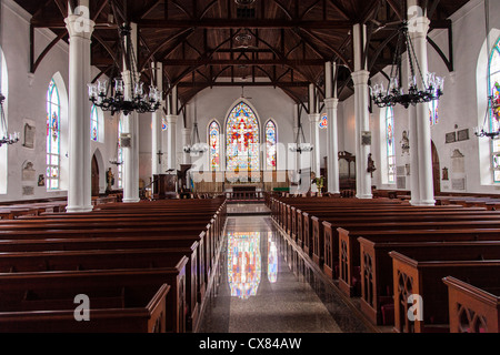 Interior of the Christ Church Cathedral Anglican Church in Nassau , Bahamas. - Stock Photo