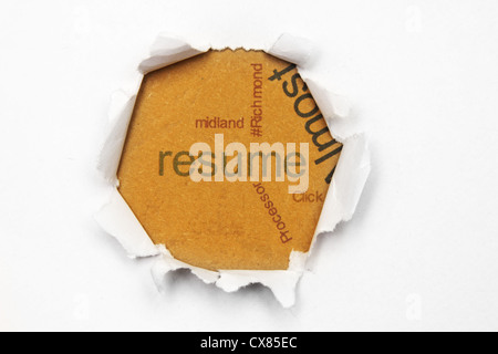 Resume text on paper hole - Stock Photo