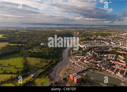 Aerial view towards the Clifton Suspension Bridge and the Bristol Channel and Severn Bridge on the distance - Stock Photo