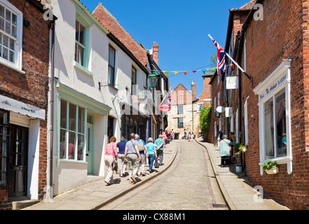 shops on Steep Hill Lincoln Lincolnshire England UK GB EU Europe - Stock Photo