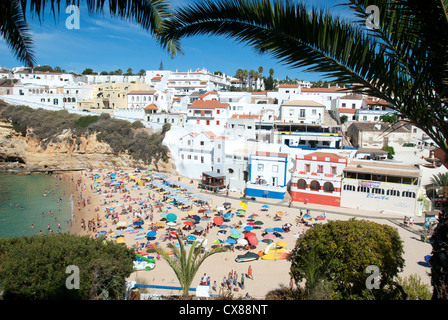 ALGARVE, PORTUGAL. A view of the town and beach at Praia do Carvoeiro. 2012. - Stock Photo