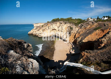 ALGARVE, PORTUGAL. Praia do Paraiso (Paradise Beach) in Praia do Carvoeiro. 2012. - Stock Photo