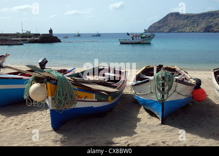Brightly painted wooden fishing boats on the beach Tarrafal, Santiago, Cape Verde Islands (Cabo Verde) - Stock Photo