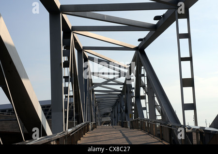 metal iron bridge on the Forum area in Barcelona - Stock Photo