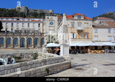 Central square (Pjaca), city of Hvar, Island of Hvar, Dalmatian coast, Croatia - Stock Photo