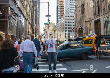 New York City, NY, USA, People Crossing Street, Shopping, Scenes, on Fifth Avenue, and 57the St. Manhattan , - Stock Photo
