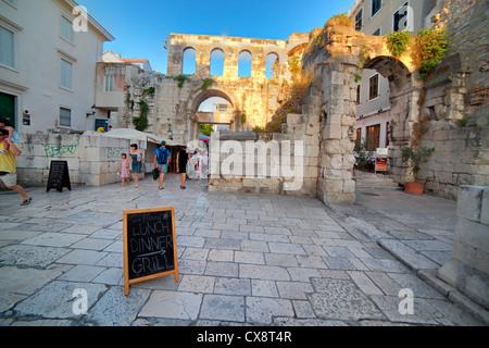 East gate, Porta Argentea, Split, Dalmatia, Croatia - Stock Photo