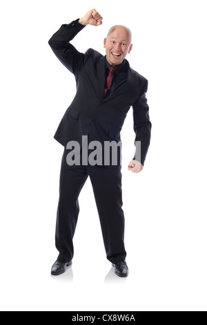 Man in suit victory punch isolated on white - Stock Photo